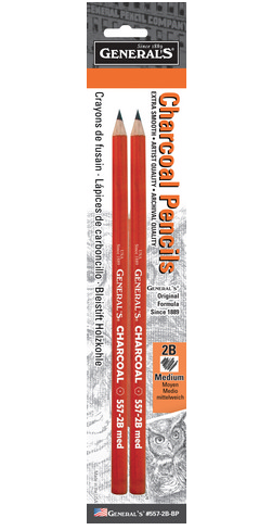 CHARCOAL PENCIL 2B MEDIUM 2 PACK